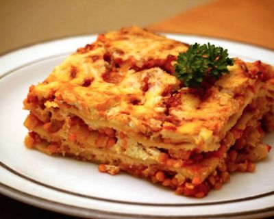 Rote Linsen Bolognese Lasagne