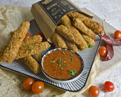 Western Style Seitan-Sticks mit Dip [for the Hearts Kitchen]
