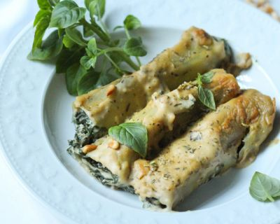 Cremige Spinat-Quark-Cannelloni